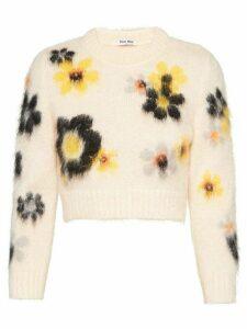 Miu Miu intarsia knit floral jumper - PINK