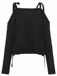 Prada cashmere open shoulder jumper - Black