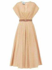 Prada belted A-line dress - Brown