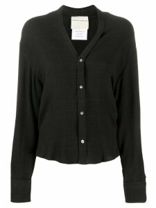 Stephan Schneider collarless v-neck shirt - Black