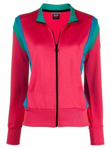Colmar contrast-panel zip-through sweatshirt - PINK