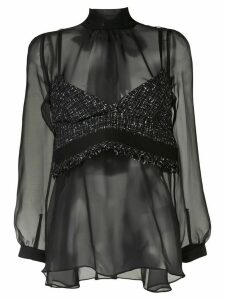Sacai raw-top sheer blouse - Black