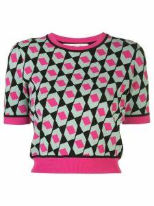 DVF Diane von Furstenberg geometric print cropped jumper - PINK