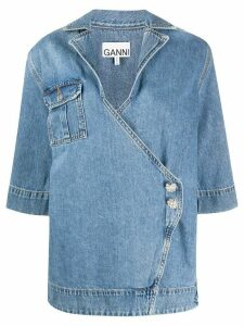 GANNI short sleeve denim blouse - Blue