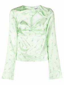 GANNI cut-out floral print blouse - Green