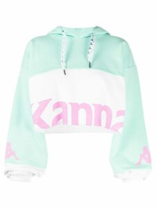 Kappa cropped logo print hoodie - Green