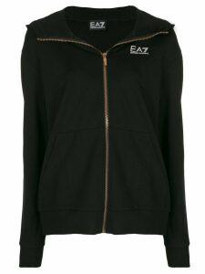 Ea7 Emporio Armani logo-print zip-up hoodie - Black