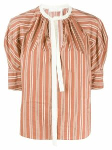 Chloé puff-sleeve striped blouse - Brown