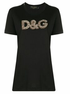 Dolce & Gabbana leopard logo stitch T-shirt - Black