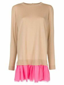 Delpozo ruffled-skirt knit jumper - Brown