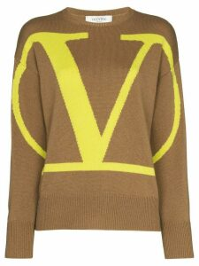 Valentino VLOGO intarsia knit jumper - Brown