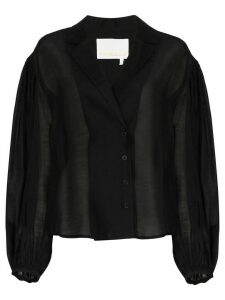 Remain West sheer pouf-sleeve blouse - Black