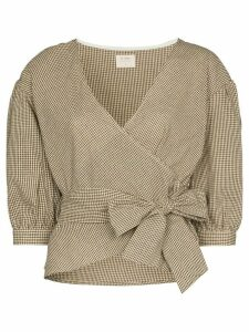 st. agni Fluer micro check wrap top - Brown