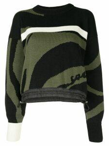 Sacai colour-block jumper - Black