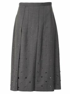 Nº21 crystal-embellished pleated skirt - Grey