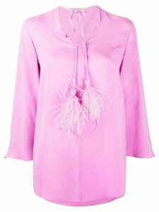 Valentino flowing ostrich feather detail blouse - PINK