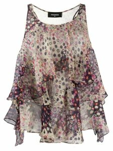 Dsquared2 floral ruffled blouse - NEUTRALS