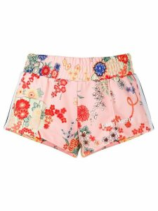 Palm Angels floral print sport shorts - PINK