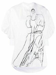 Alexander McQueen sketch-effect collarless shirt - White