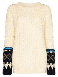 Rentrayage Isle of Skye fairisle cable-knit jumper - NEUTRALS