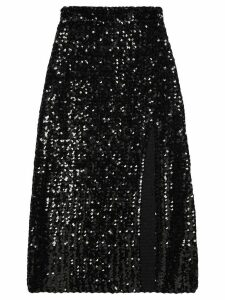 Gucci front slit sequinned skirt - Black
