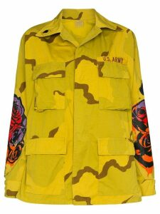 R13 floral print military-style jacket - Yellow