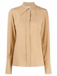 Victoria Beckham pointed collar silk shirt - NEUTRALS