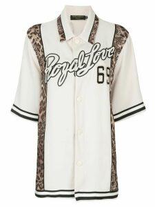 Dolce & Gabbana Royal Love leopard trim shirt - White