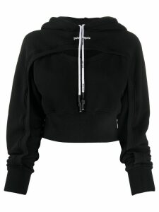 Palm Angels Rainbow cut-out cropped hoodie - Black