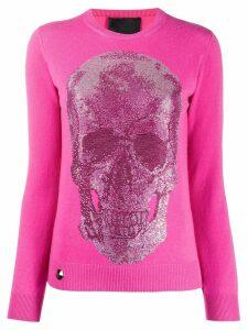 Philipp Plein skull-studded sweater - PINK