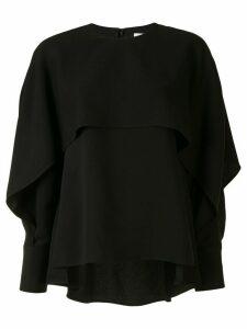 Enföld flap detail long-sleeve blouse - Black