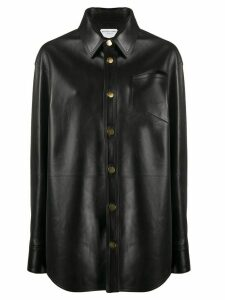 Bottega Veneta oversized leather buttoned shirt - Black