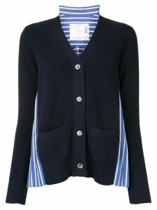Sacai contrast panel cardigan - Blue