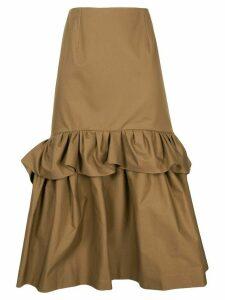 Delpozo ruffle-trimmed flared midi skirt - Brown