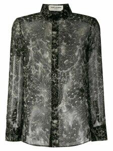 Saint Laurent printed chiffon shirt - Black