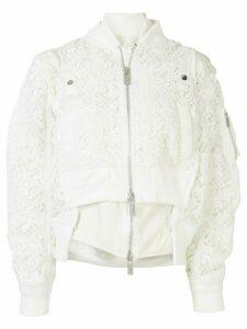 Sacai lace bomber jacket - White