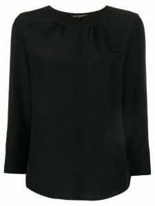 Luisa Cerano key-hole 3/4 sleeve blouse - Black