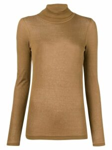 Ami Paris Long Sleeves Tee With Turtle Neck - Brown