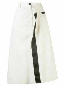 Sacai pinstripe asymmetric skirt - White