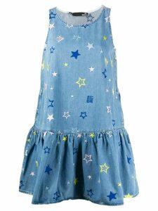 Love Moschino sleeveless embroidered stars denim dress - Blue