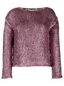 Forte Forte metallic boat-neck jumper - PURPLE