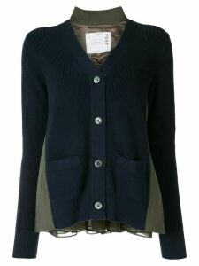 Sacai contrast panel cardigan - Blue