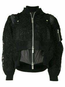 Sacai lace layered bomber jacket - Black