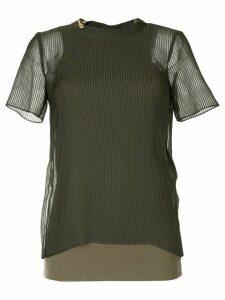 Sacai micro pleated T-shirt - Green