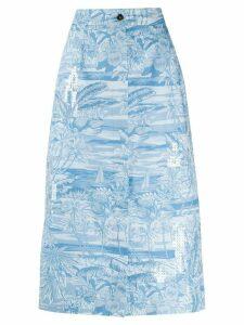 Brognano tropical-print A-Line skirt - Blue