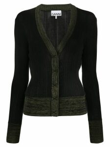 GANNI contrast-trim ribbed cardigan - Black