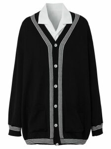 Burberry shirt panel knitted cardigan - Black