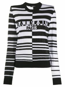 Balmain structured-shoulders striped jumper - Black