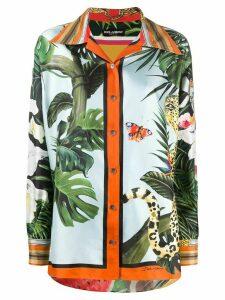 Dolce & Gabbana Leopard and Giraffe buttoned shirt - Yellow