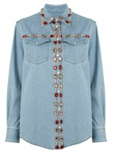 Dolce & Gabbana crystal-embellished denim shirt - Blue